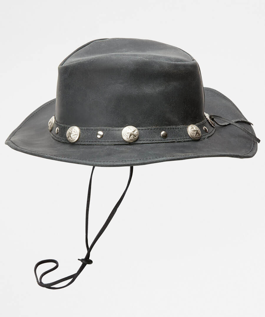 Beautiful Distressed Leather Hat Model Back