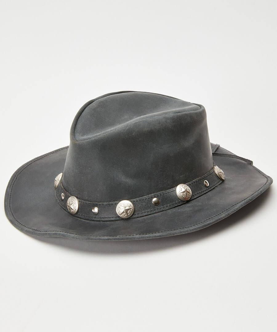 Beautiful Distressed Leather Hat Back