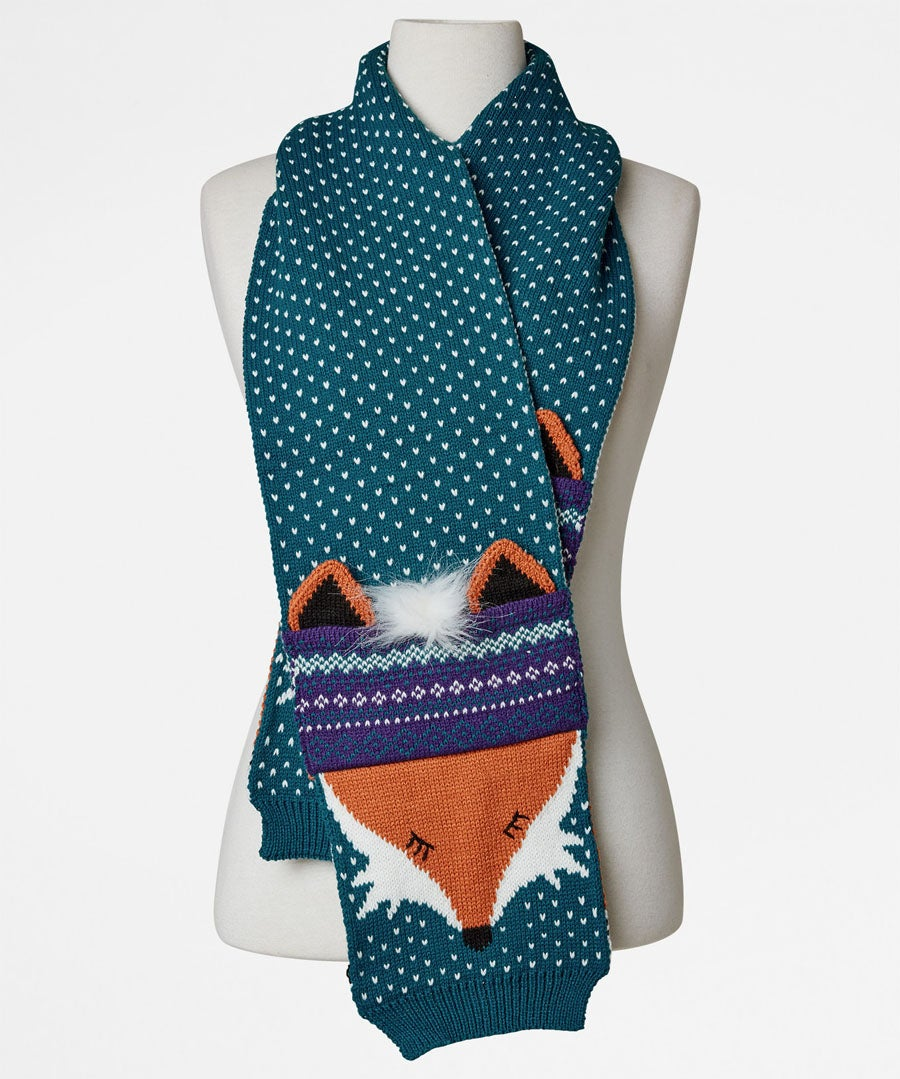Quirky Mr Fox Scarf Model Front