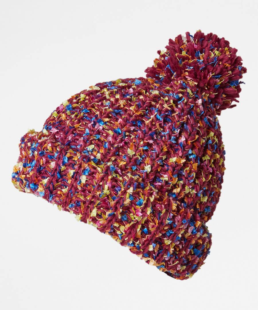 Funky Tape Yarn Bobble Hat Model Back