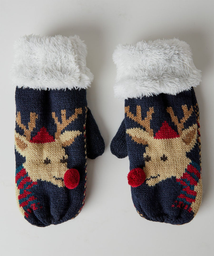 Cute And Cosy Rudolph Mittens Model Front
