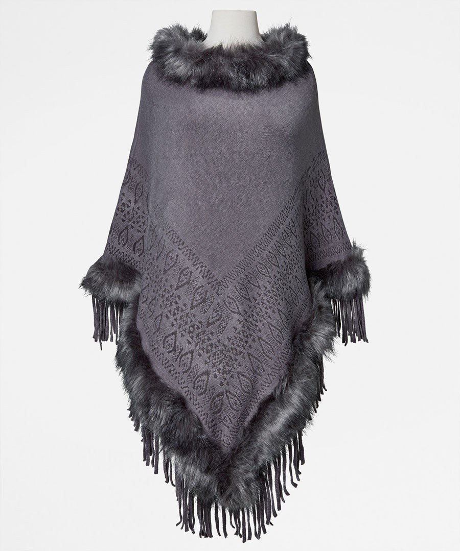 Stunning Faux Fur Poncho Model Front