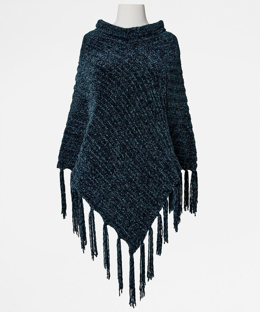 Chic And Cosy Chenille Poncho Model Front