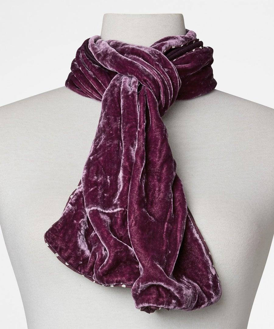 Real Silk Velvet Scarf Model Front