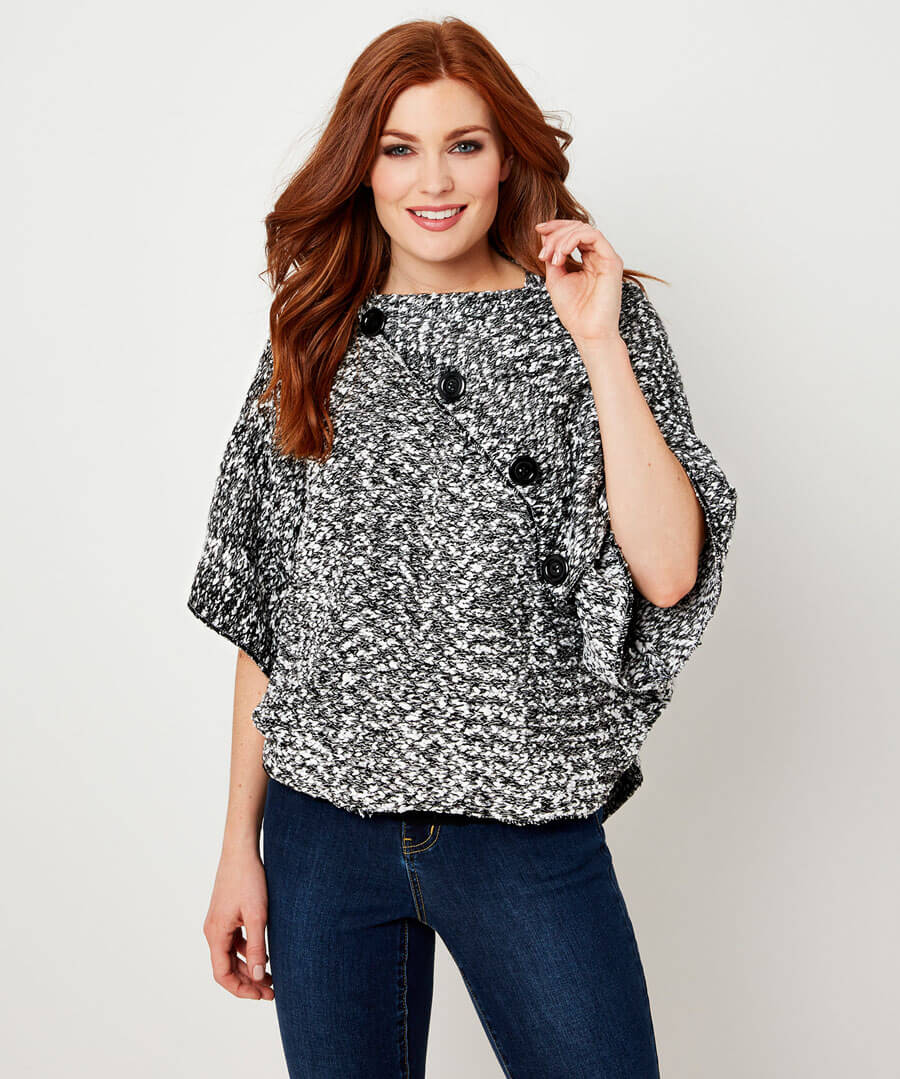 Quirky Button Poncho