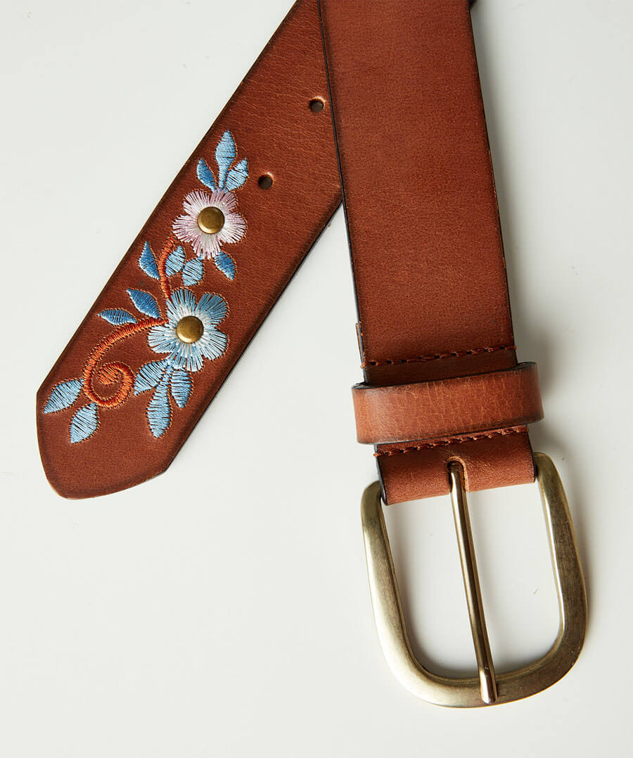 Stunning Embroidered Leather Belt
