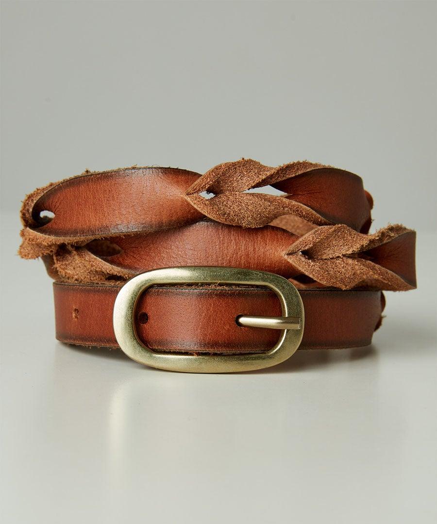 Slim Plaited Leather Belt Model Front