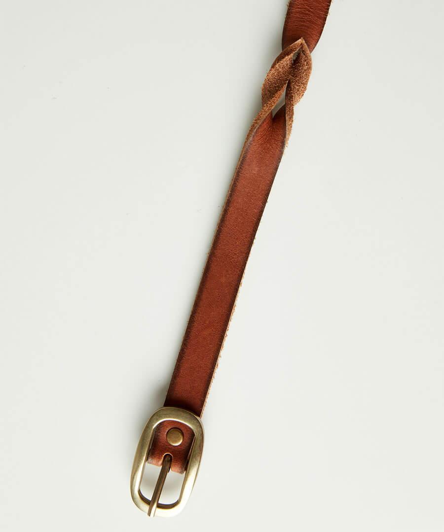 Slim Plaited Leather Belt
