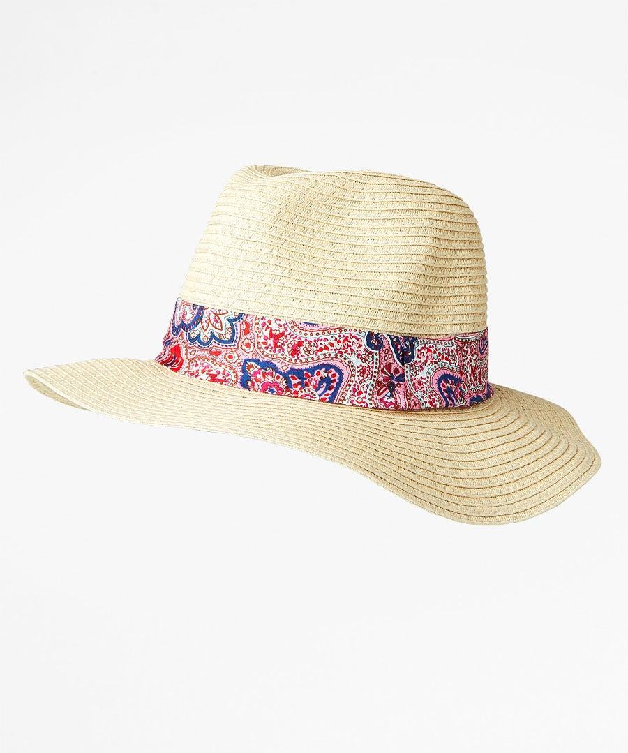 Pretty Paisley Trim Fedora Model Front