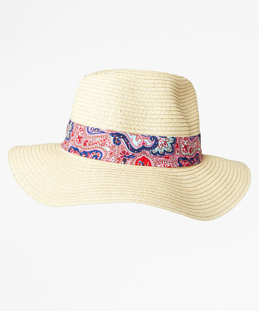 Pretty Paisley Trim Fedora Model Back