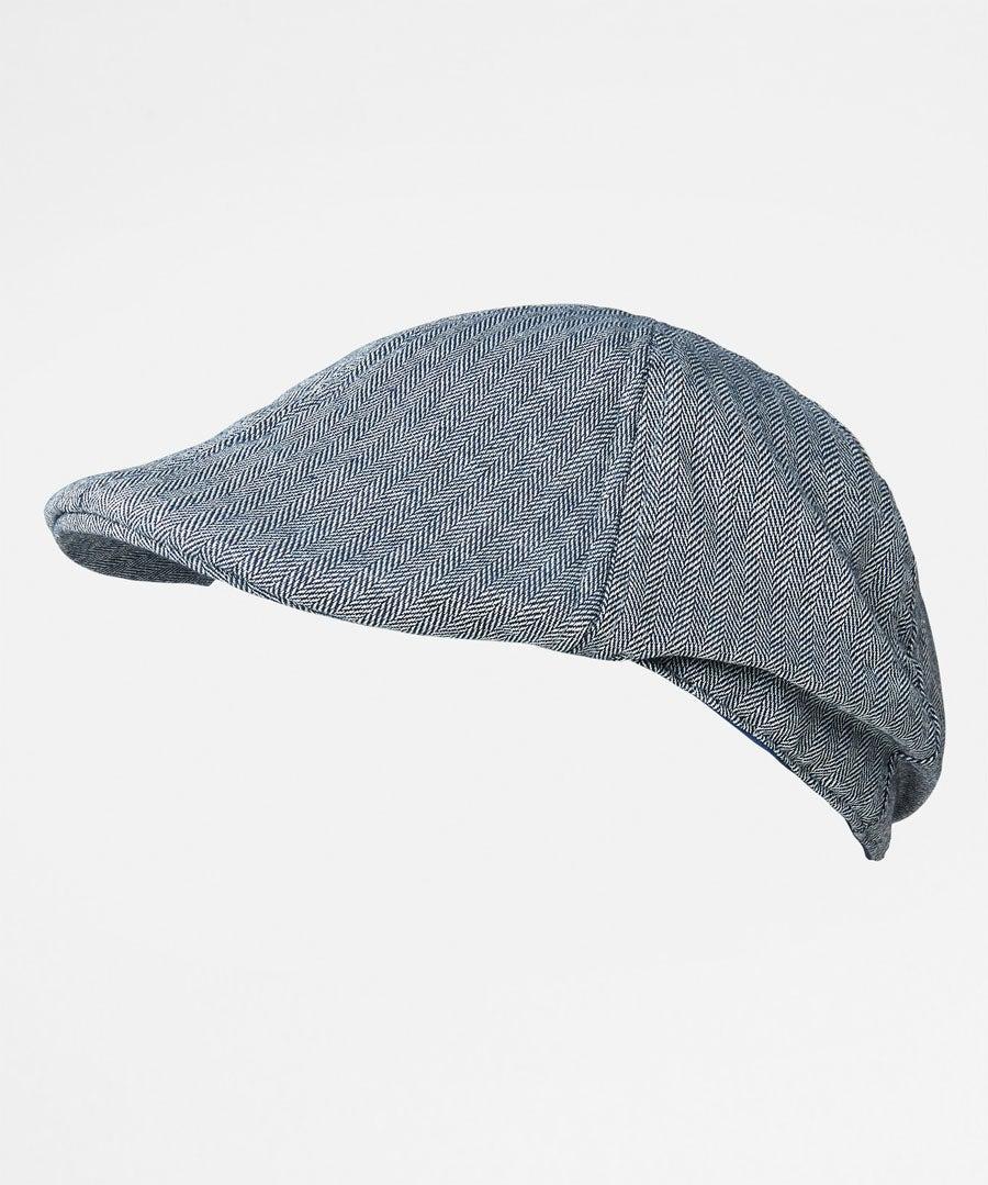 Herringbone Peaky Flat Cap Model Front
