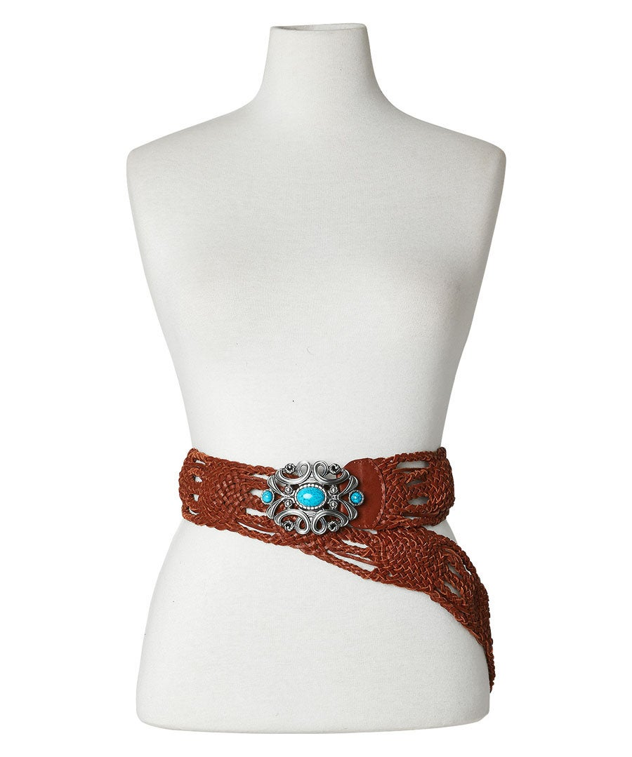 Boho Jewel Buckle Leather Belt Model Front
