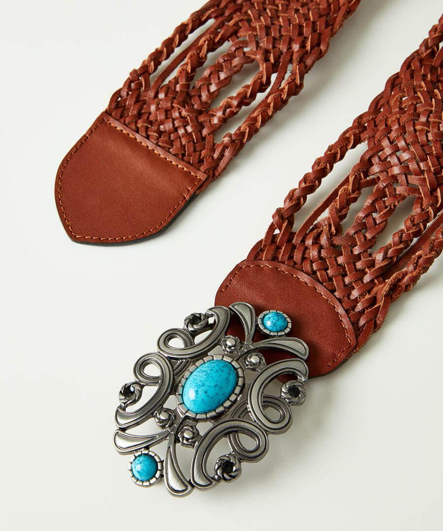 Boho Jewel Buckle Leather Belt