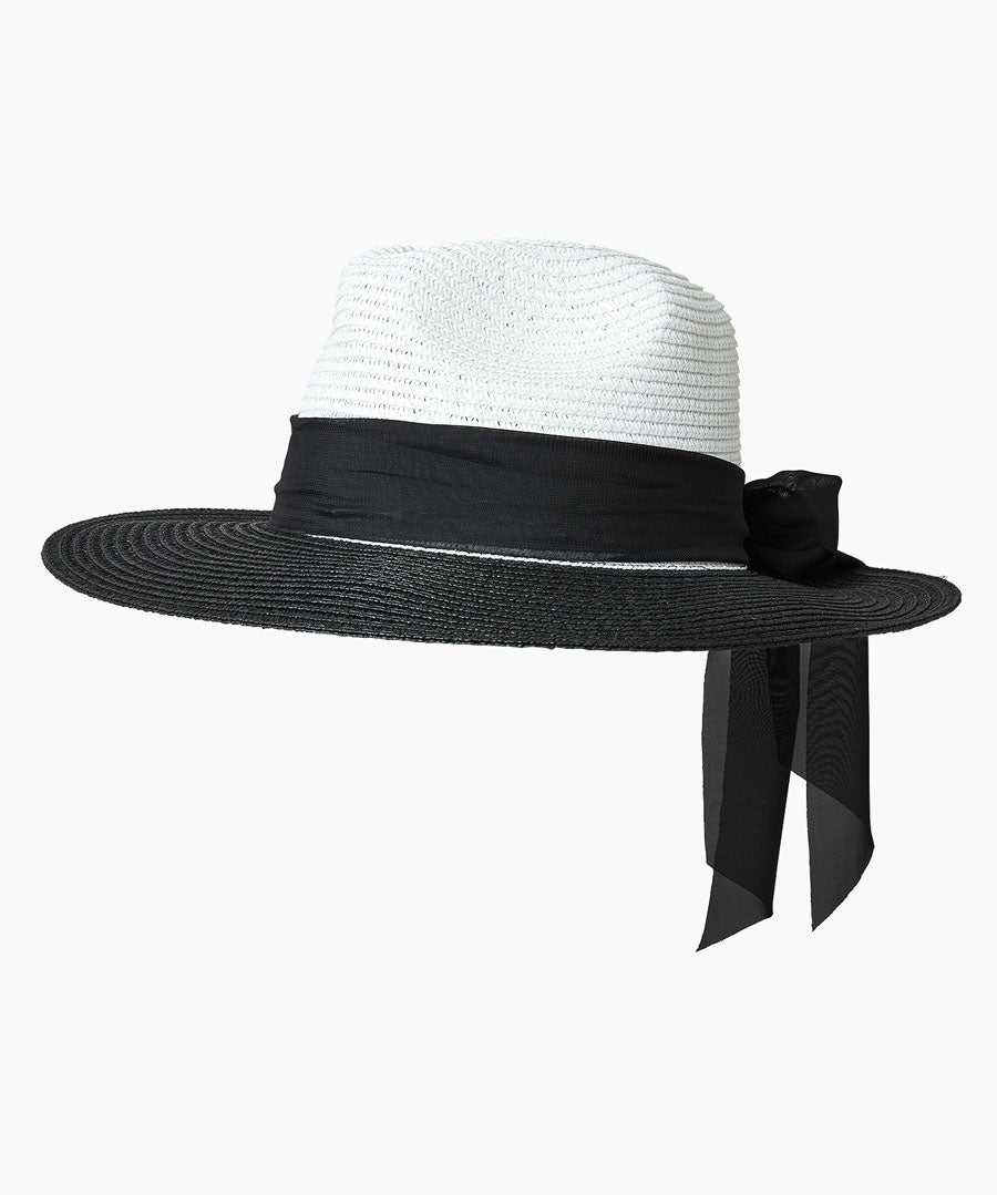 Monaco Scarf Trim Hat Model Front