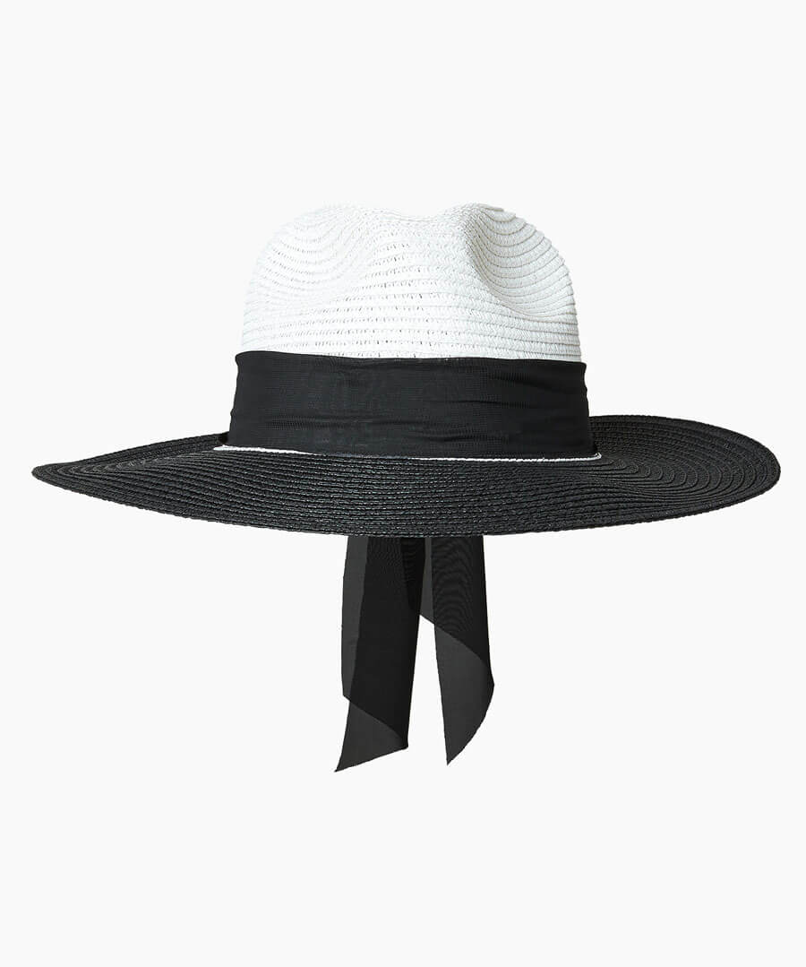 Monaco Scarf Trim Hat Model Back