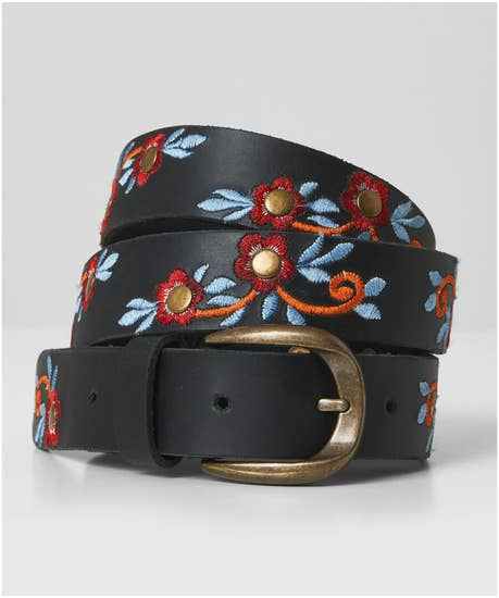 Liberty Embroidered Leather Belt