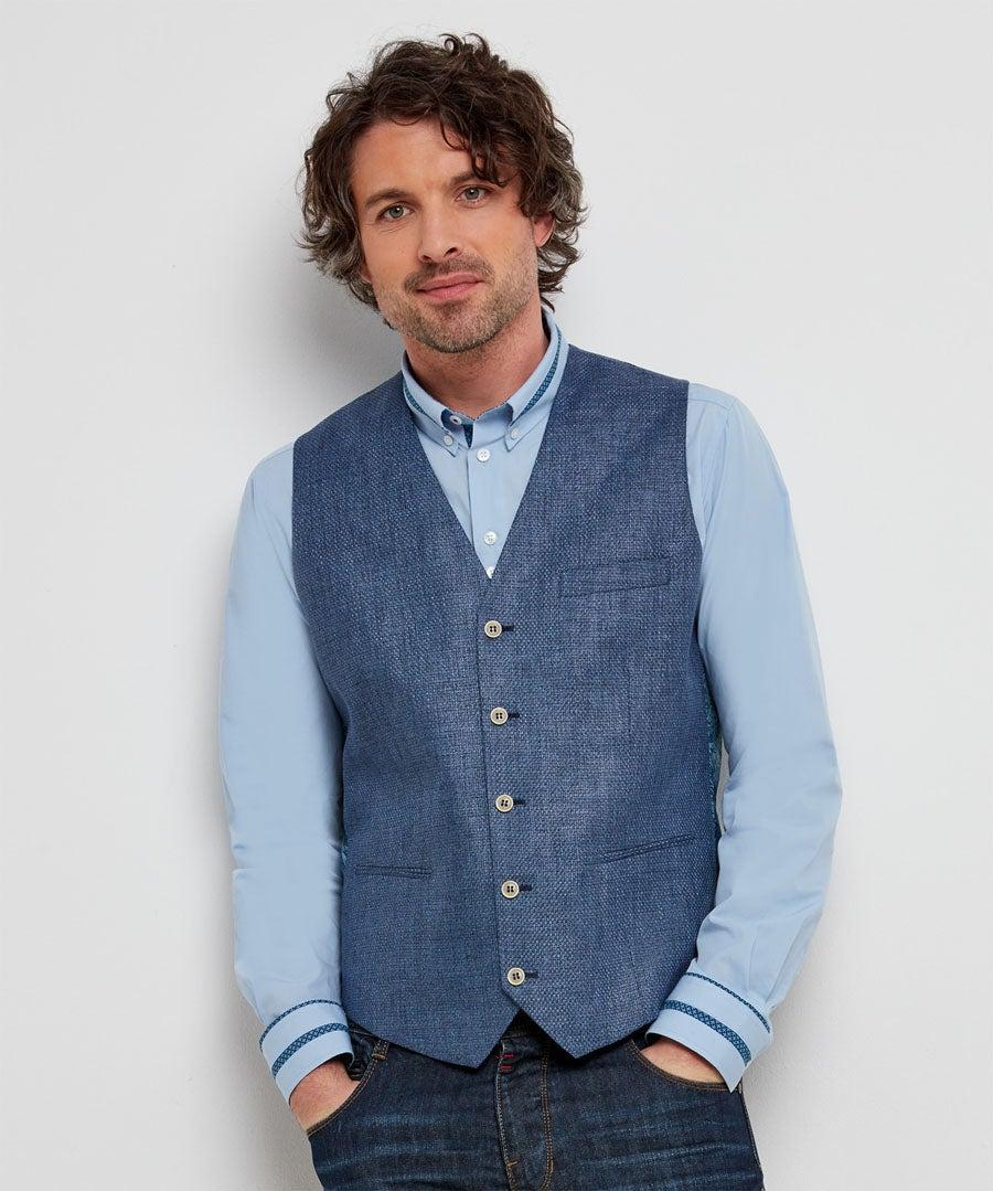 Irresistible Linen Mix Waistcoat Model Front