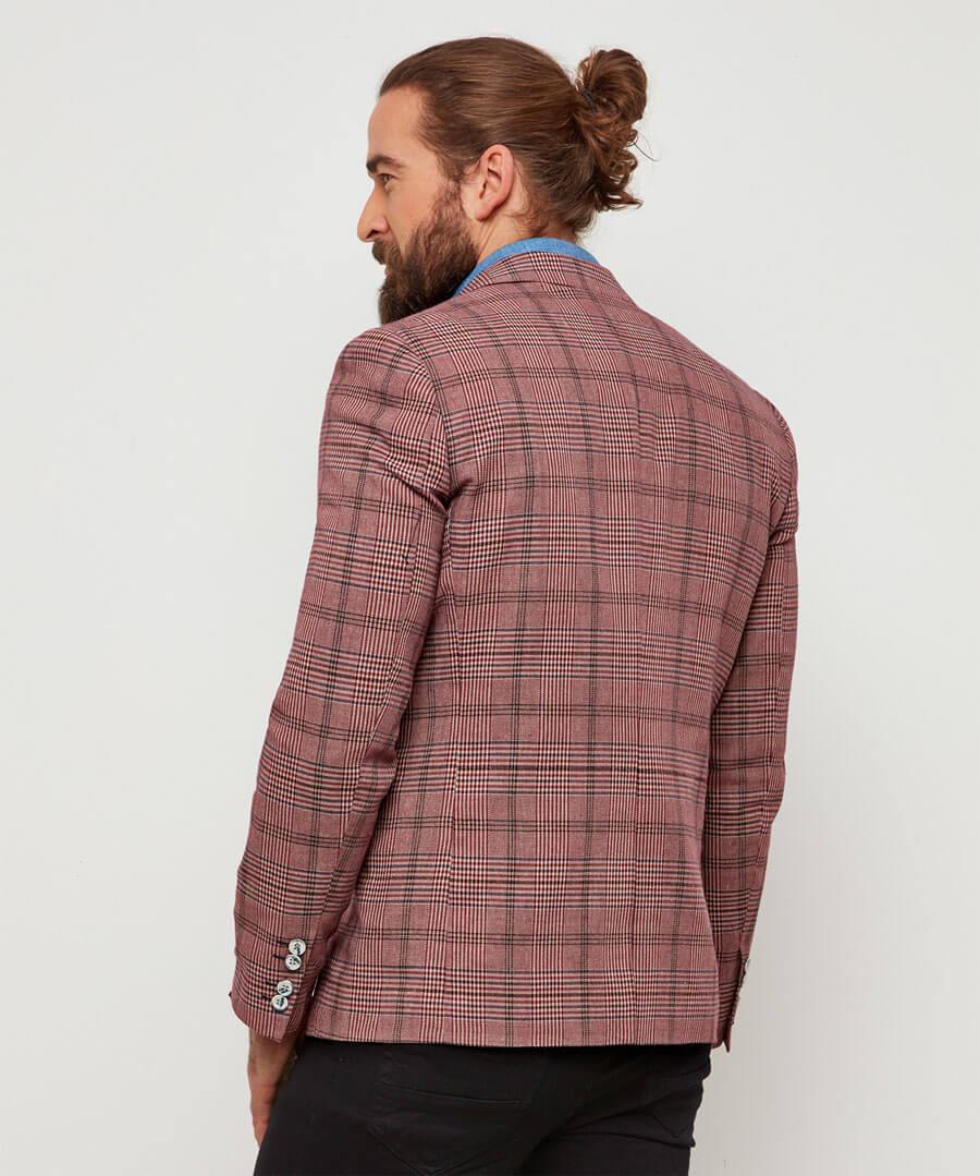 Charming Check Blazer Model Back