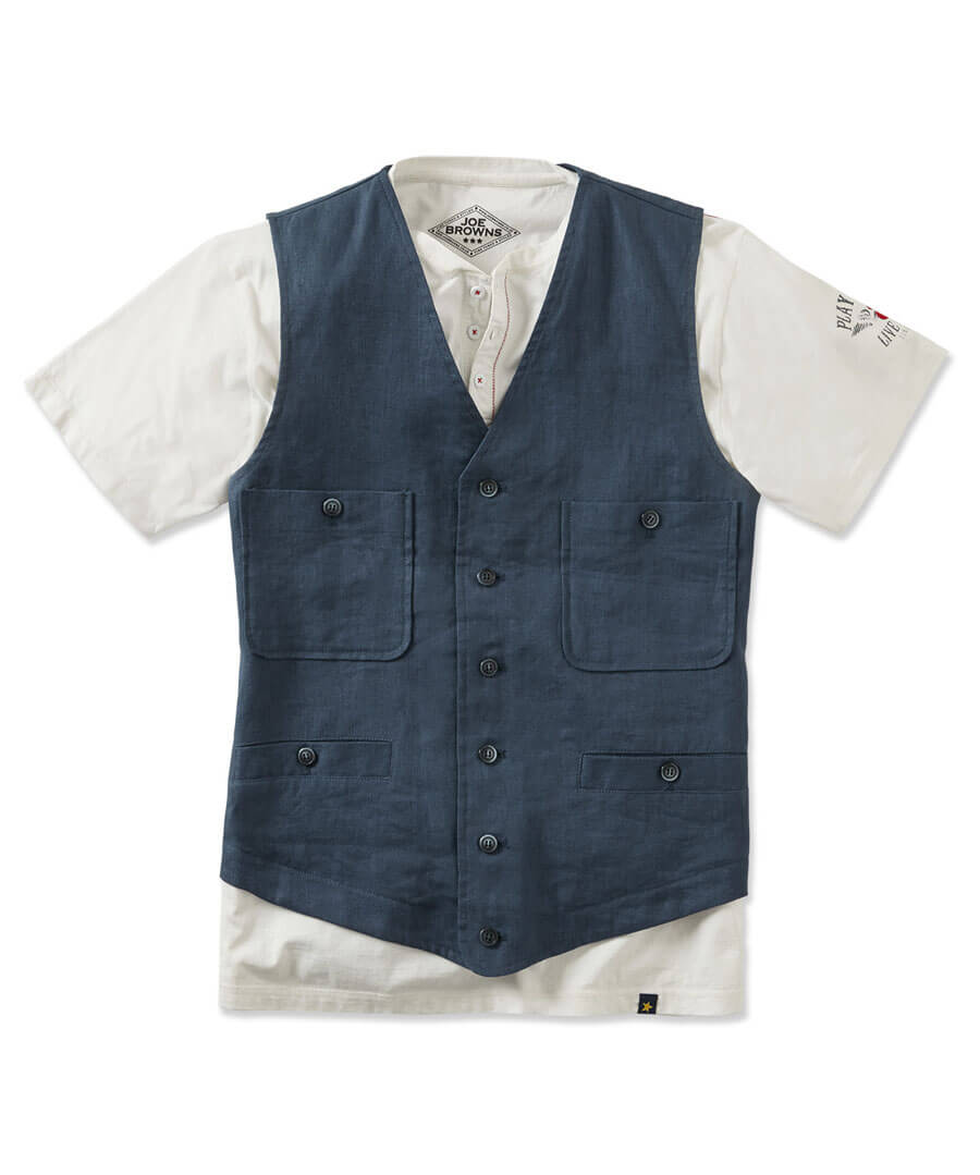 Lets Go Linen Waistcoat Model Front