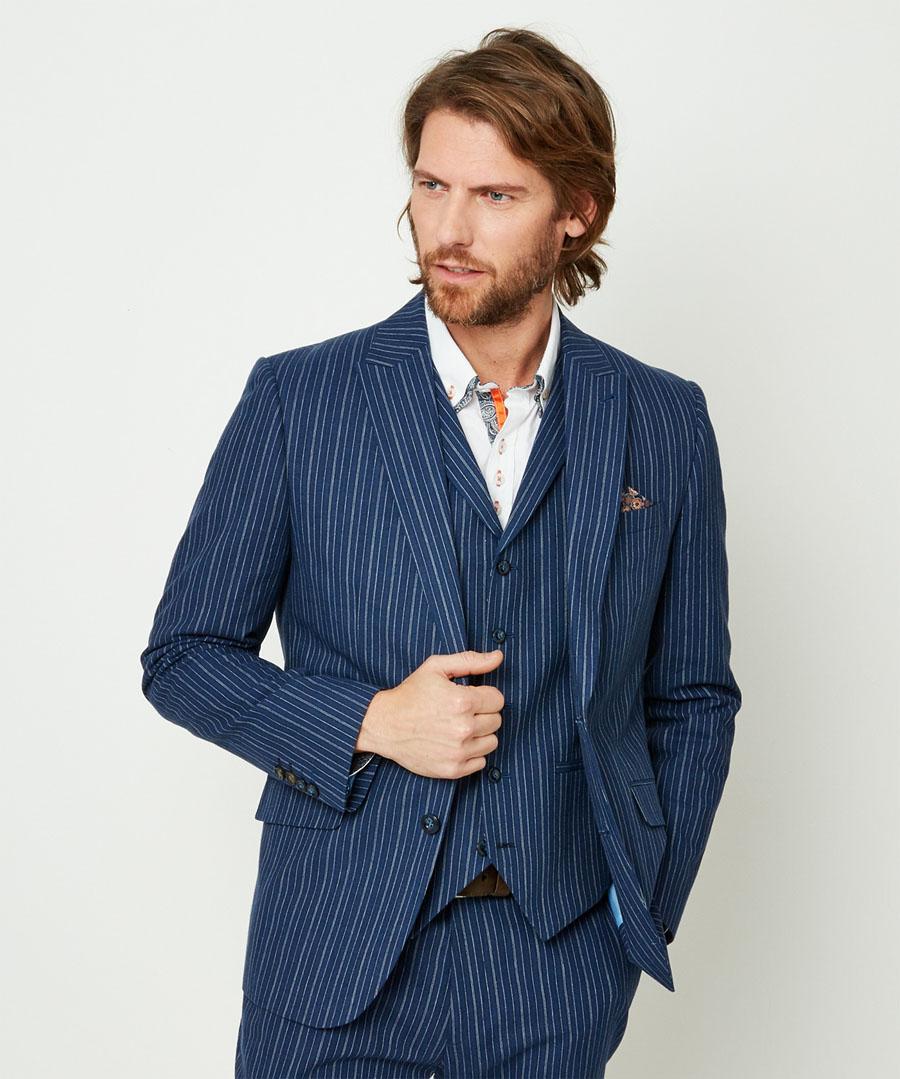 Men's Vintage Style Suits, Classic Suits Superb Stripe Blazer $100.00 AT vintagedancer.com