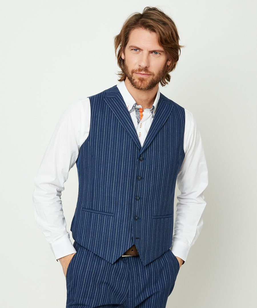 Superb Stripe Waistcoat Model Front