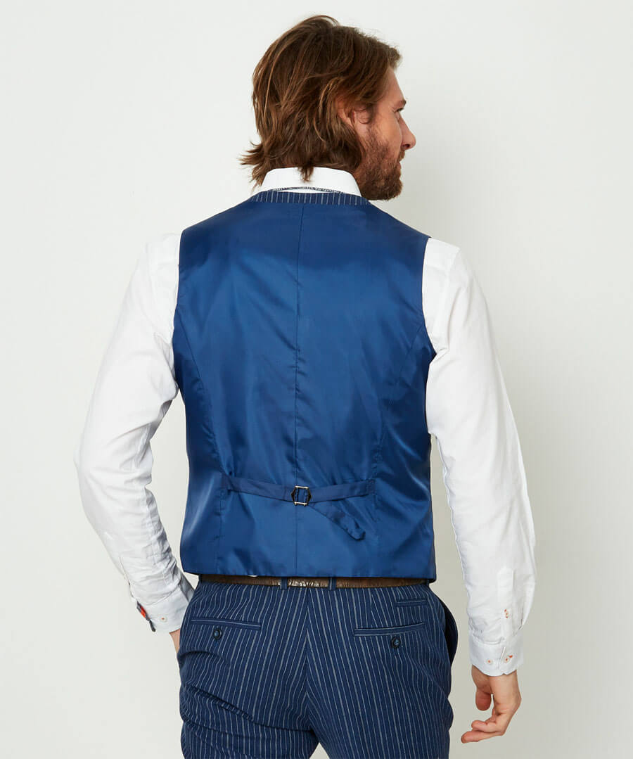 Superb Stripe Waistcoat Model Back