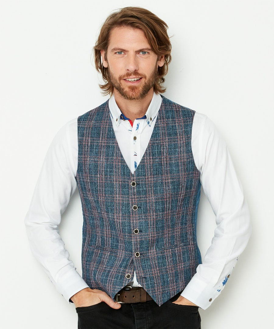 Charismatic Check Waistcoat Model Front