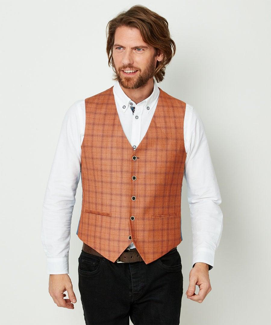 Charming Check Waistcoat Model Front