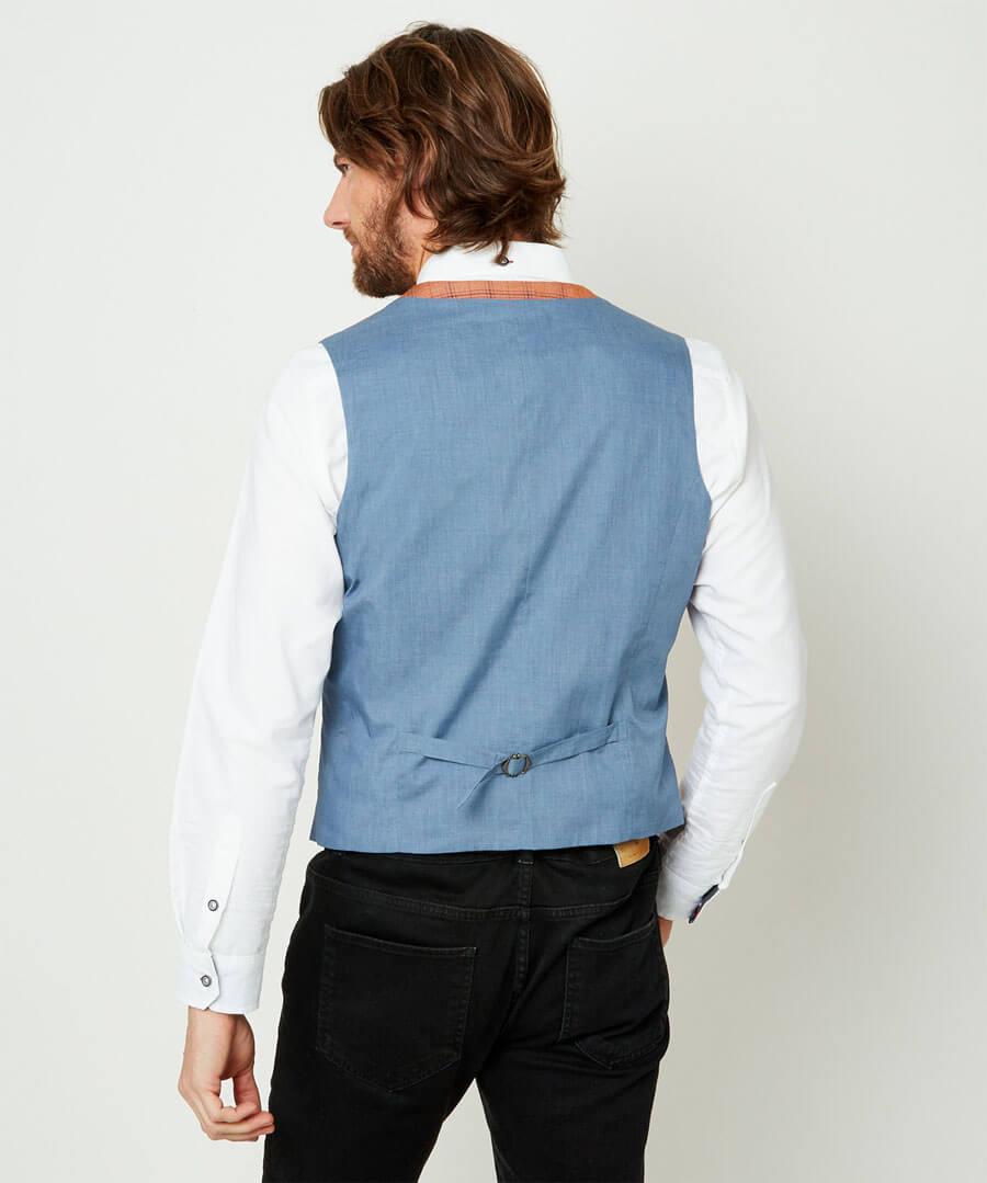 Charming Check Waistcoat Model Back
