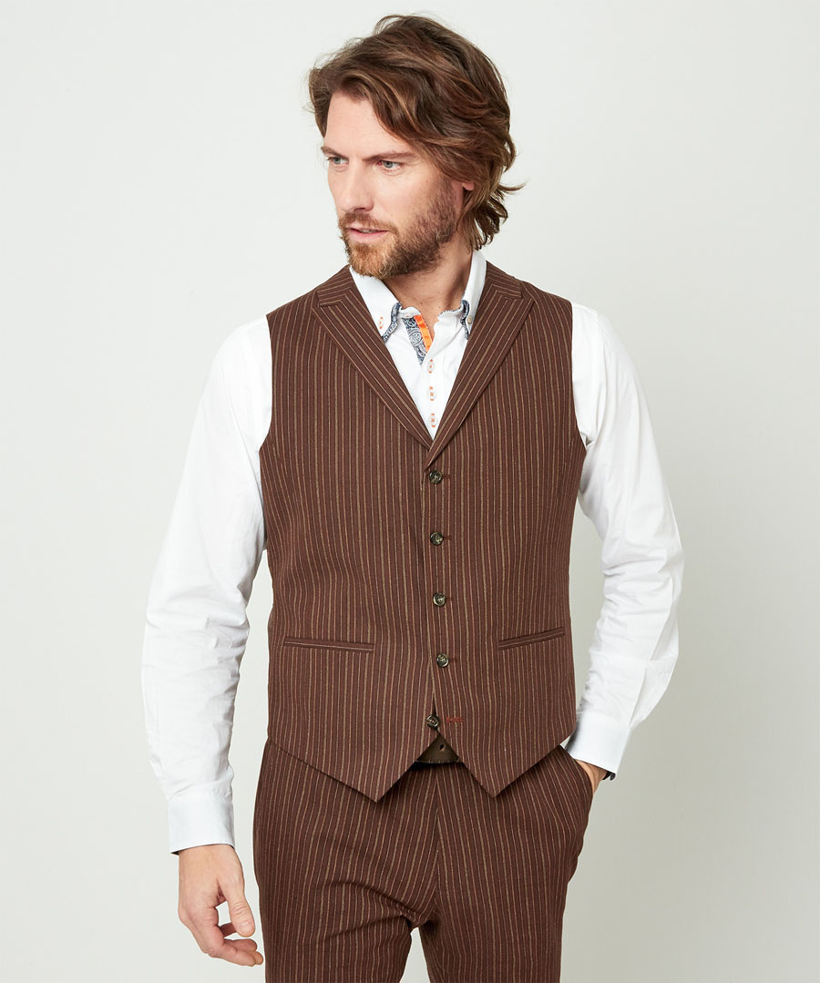 1920s Style Mens Vests Sensational Stripe Waistcoat $50.00 AT vintagedancer.com