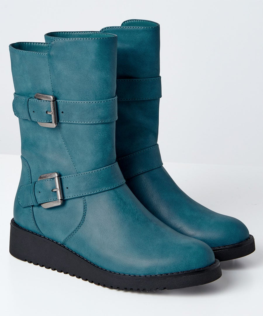 Double Trouble Strap Boots Model Front