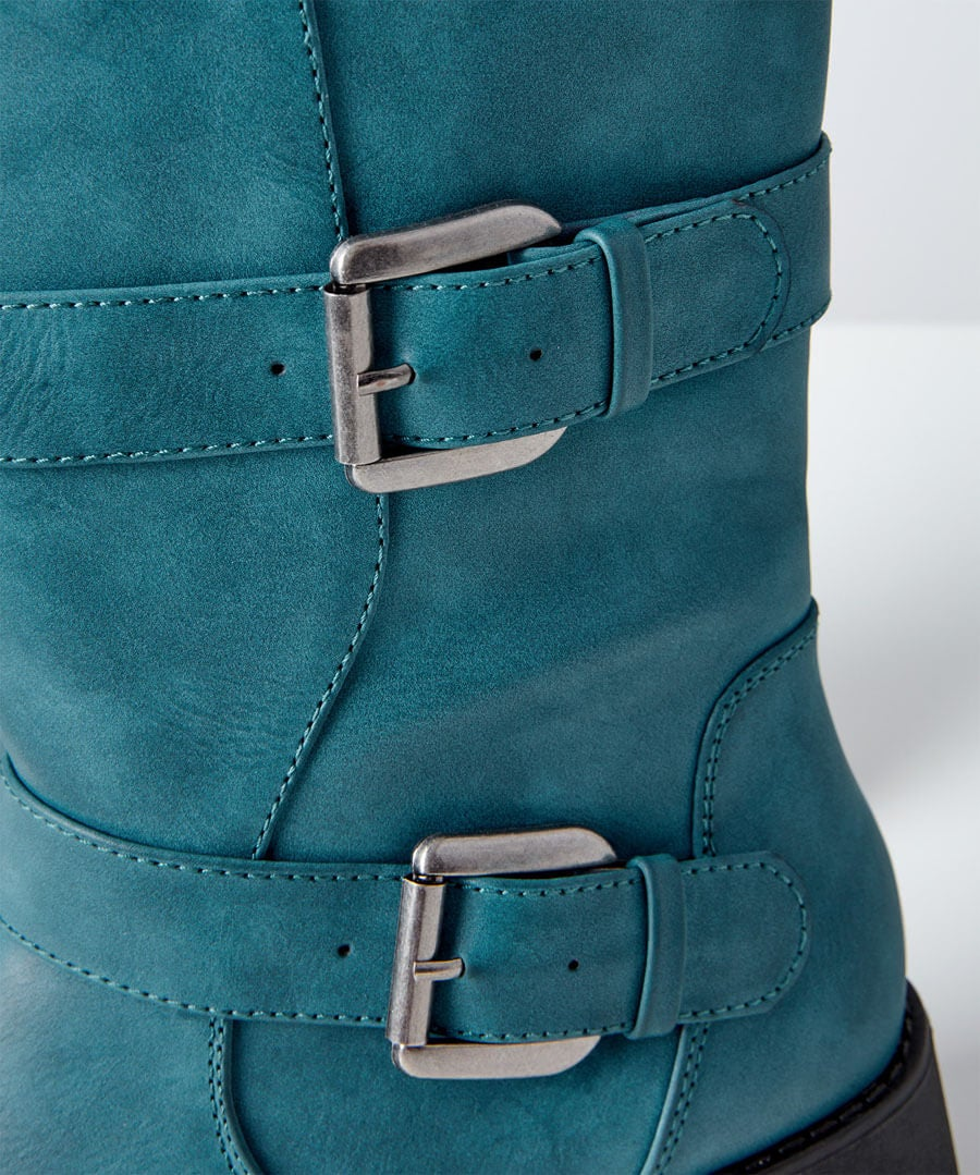 Double Trouble Strap Boots Model Back