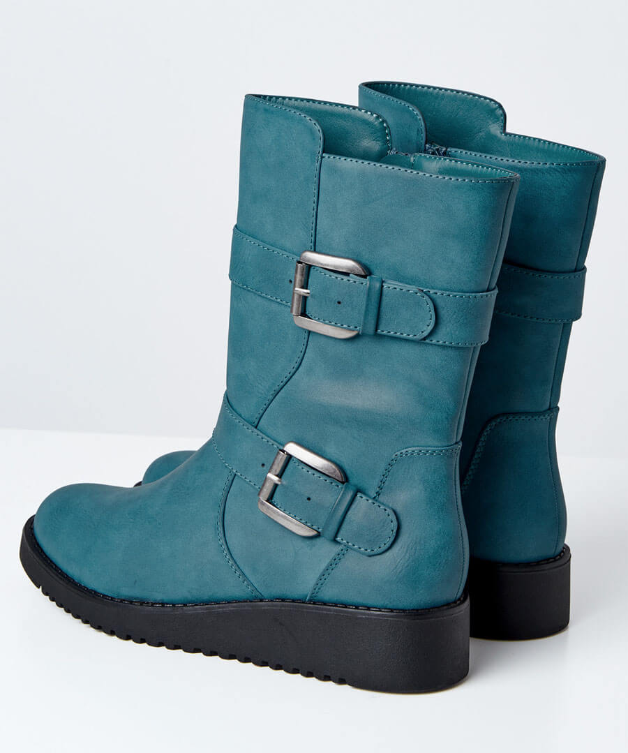 Double Trouble Strap Boots Back