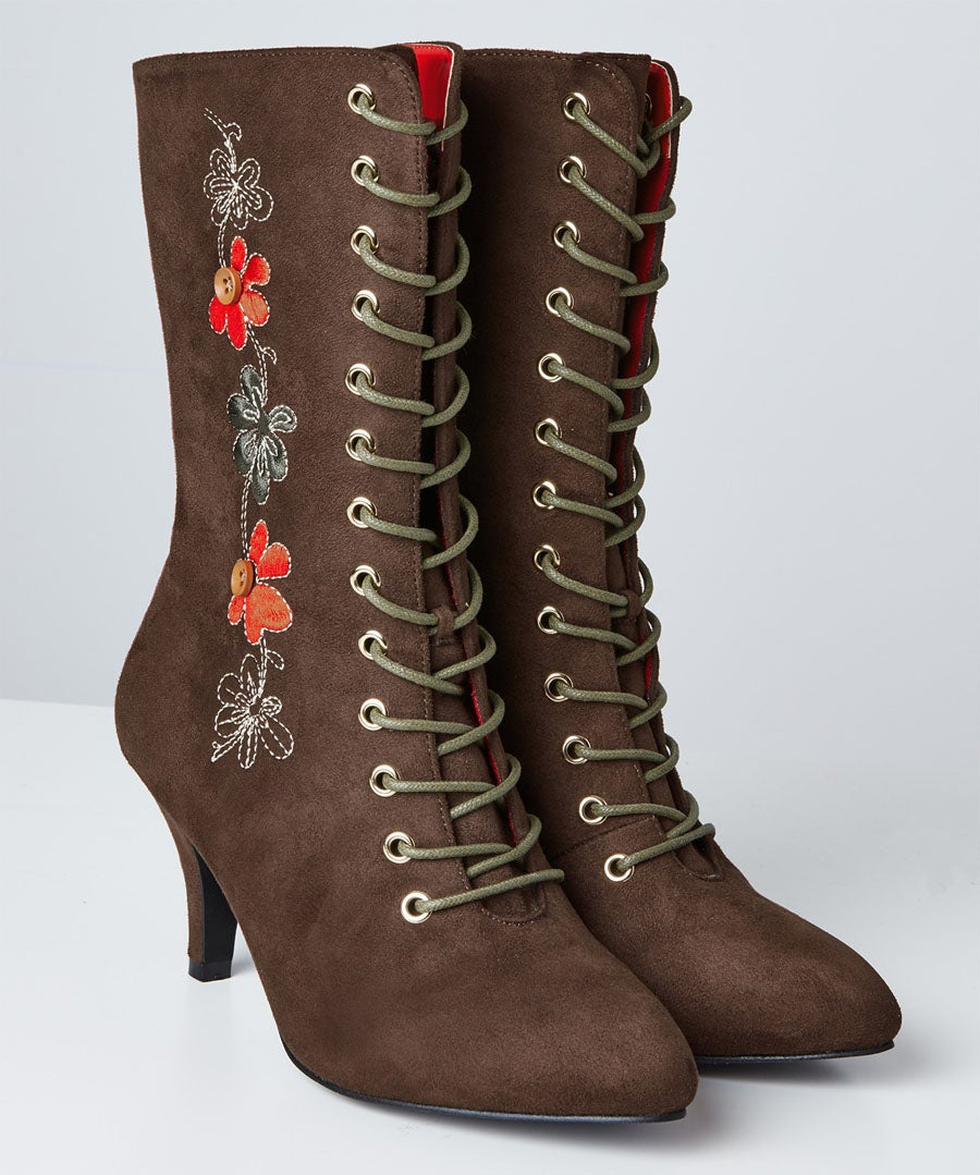 Bohemian Belle Embroidered Boots Model Front