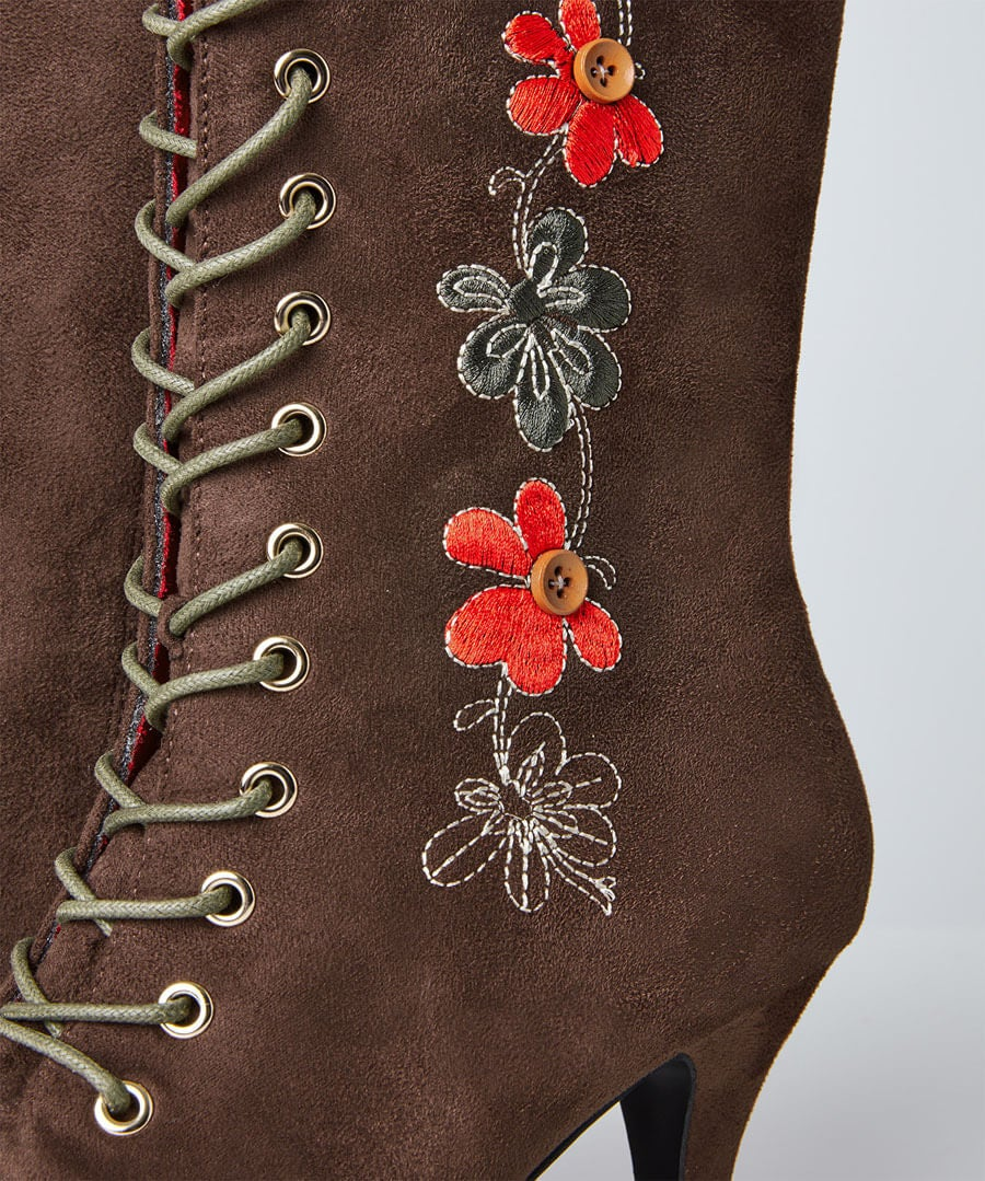 Bohemian Belle Embroidered Boots Model Back