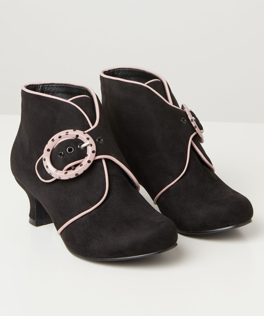 60s Shoes, Go Go Boots Little Minx Buckle Boots $50.00 AT vintagedancer.com