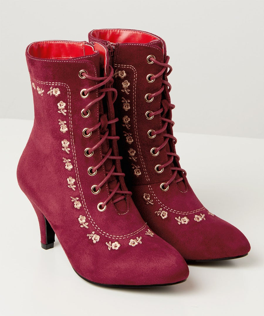 Romany Girl Embroidered Boots Model Front