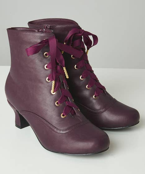 Victoriana Plum Ankle Boots