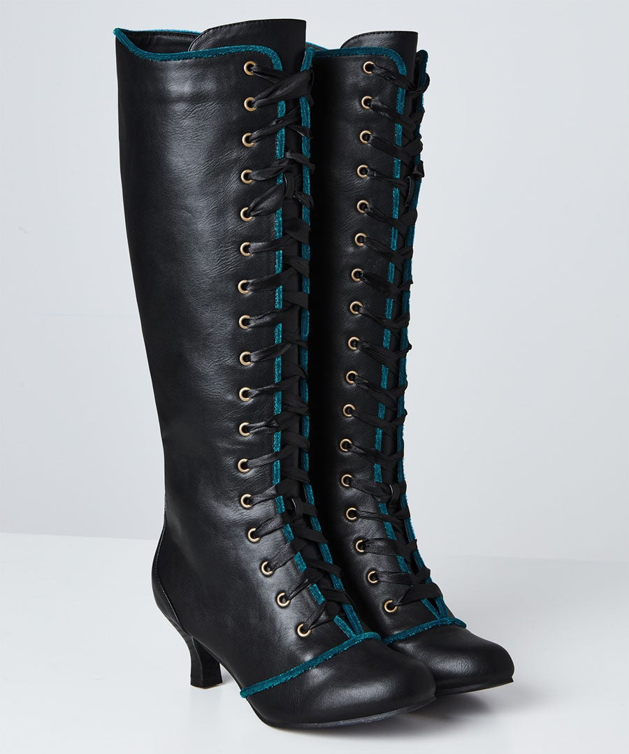 Spellbound Tall Lace Up Boots Model Front