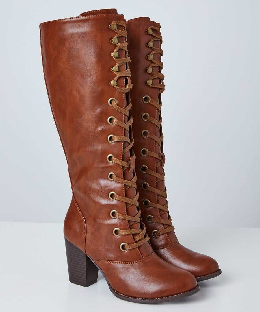 This Seasons Tall Lace Up Boots Model Front