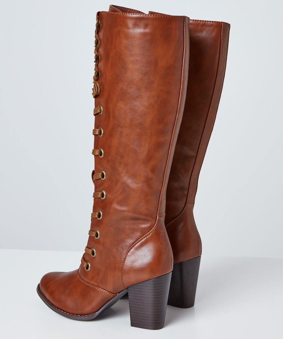 This Seasons Tall Lace Up Boots Back