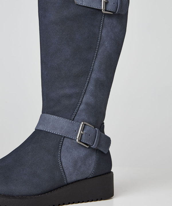 Happiness Buckle Wedge Boots