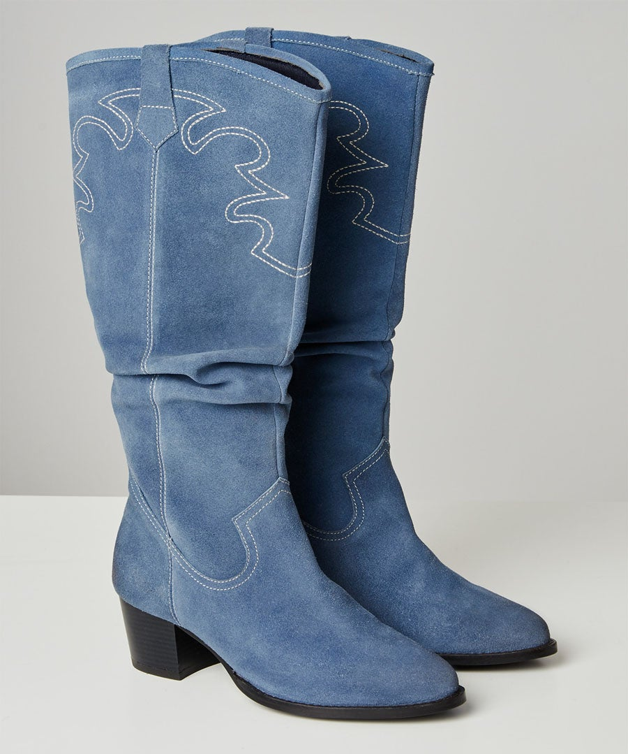 Sundown Suede Slouch Boots Model Front