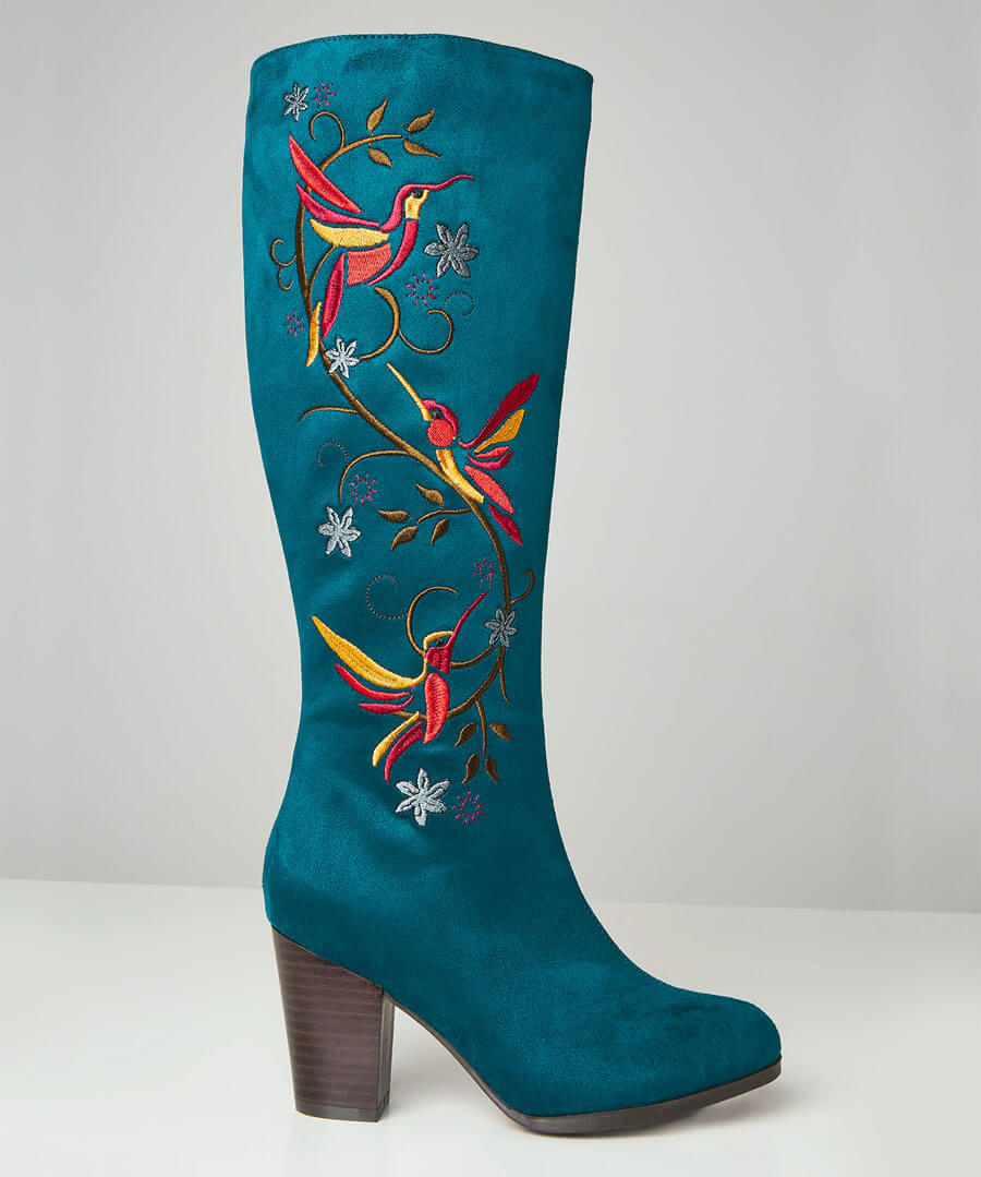 Vintage Boots, Retro Boots Paradise Birds Embroidered Boots $70.00 AT vintagedancer.com