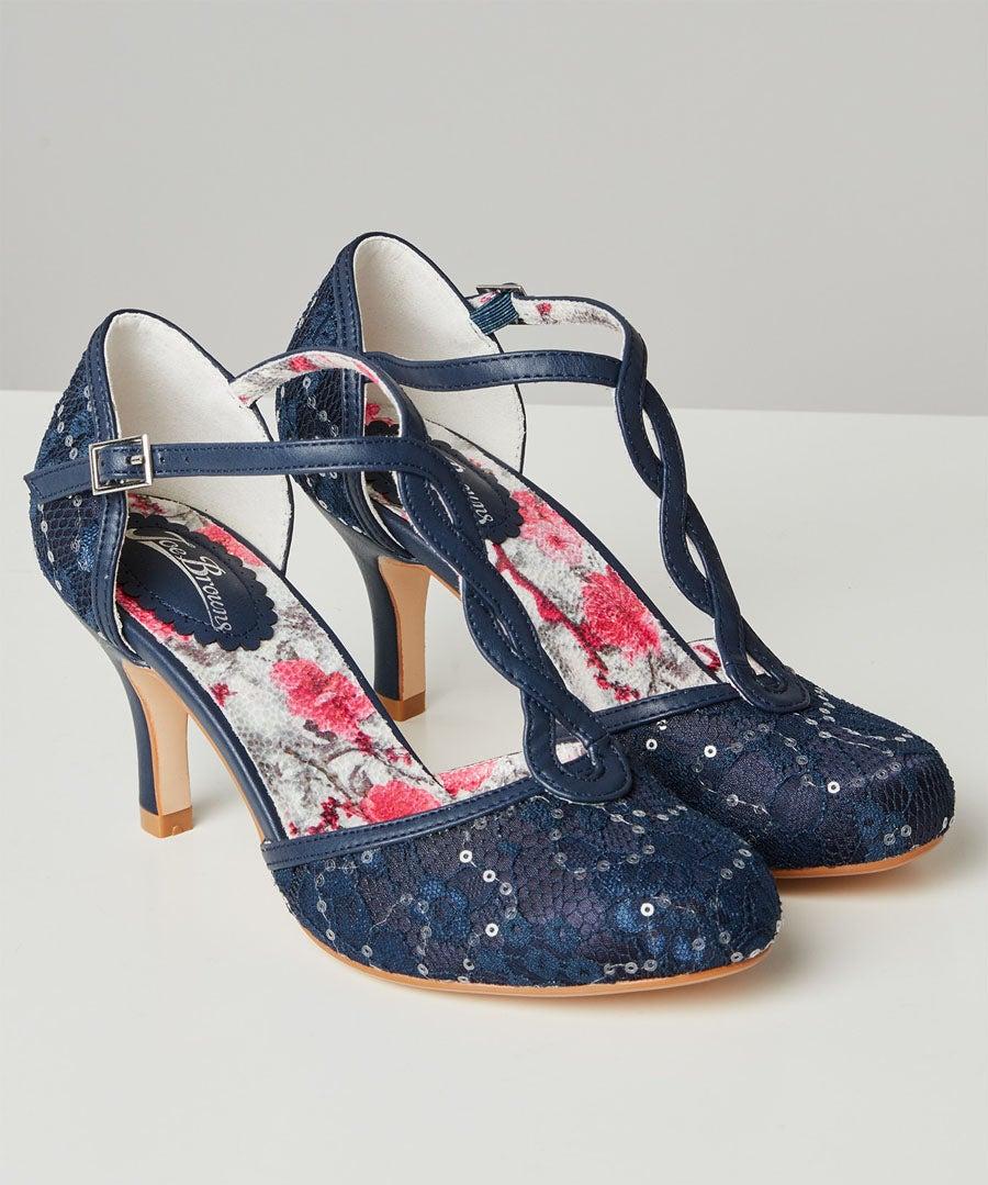 Moonlit Lace T-Bar Shoes Model Front