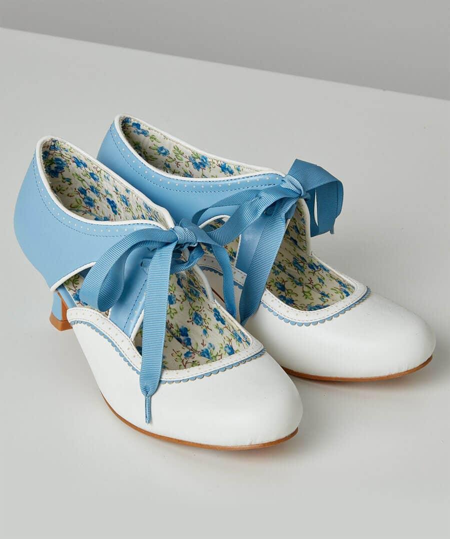 UK 1930s Dresses, Shoes, Clothing in the UK Summer Blues Ribbon Shoes $48.00 AT vintagedancer.com