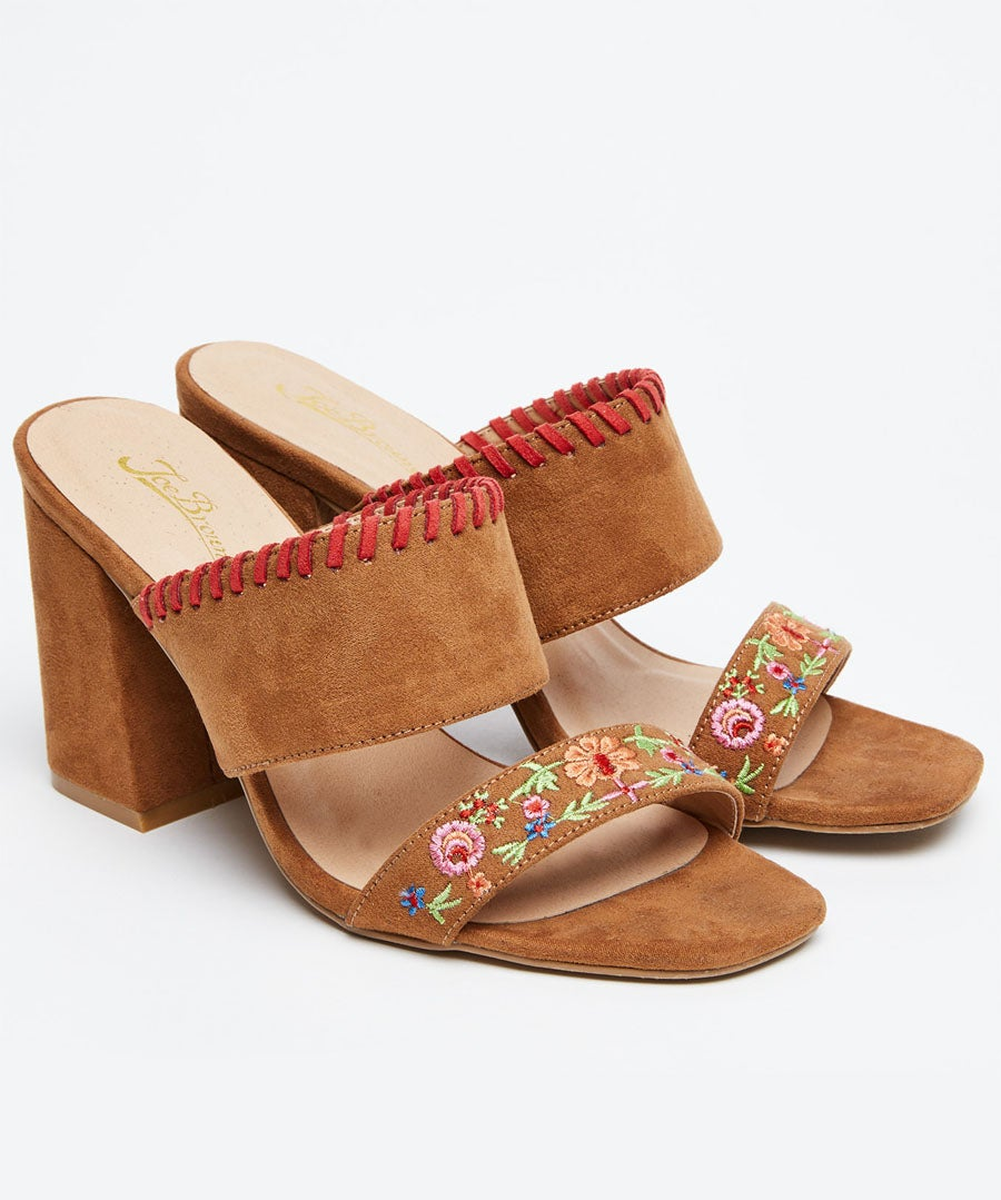 Charismatic Embroidered Mules Model Front