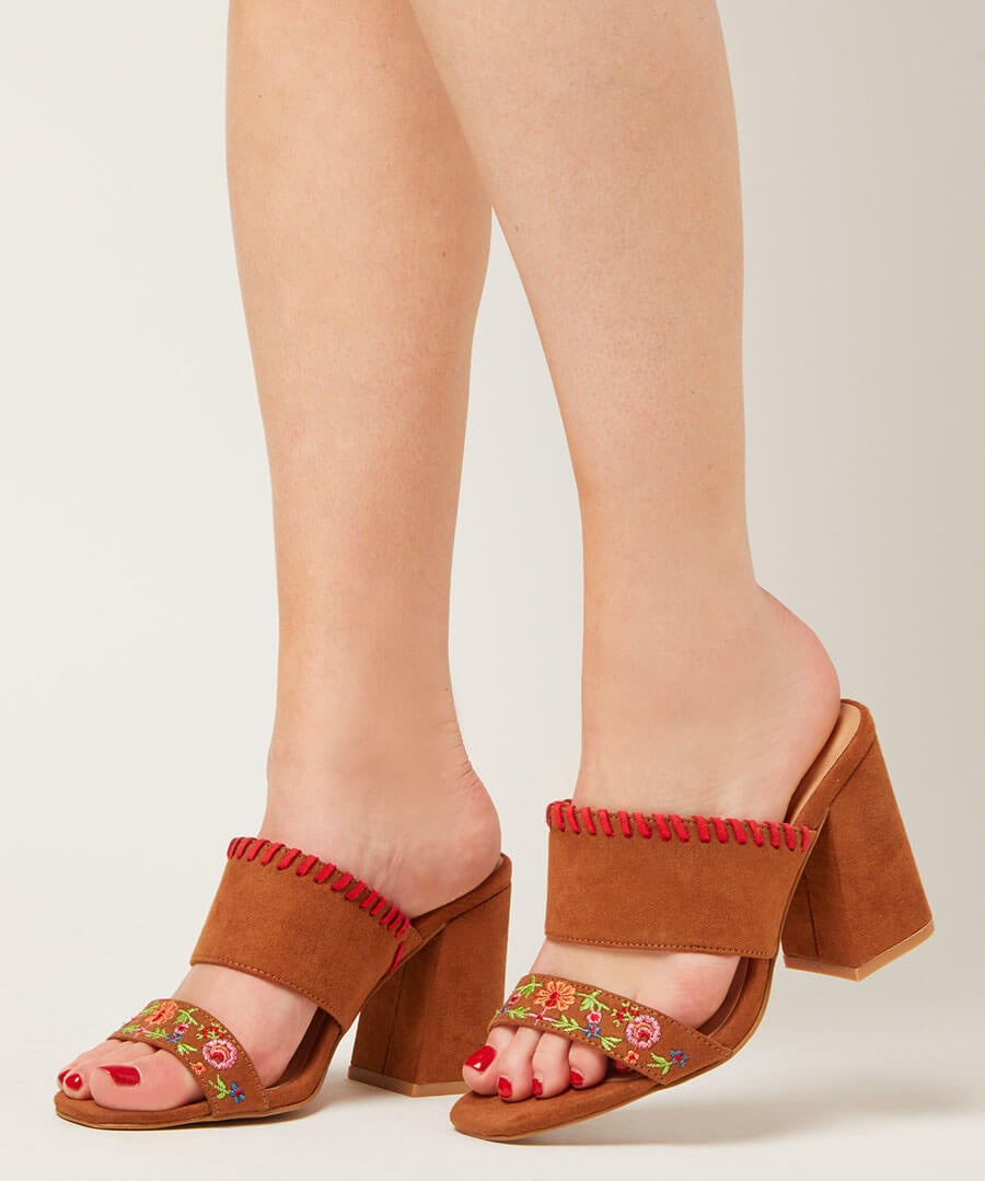 Charismatic Embroidered Mules Model Back