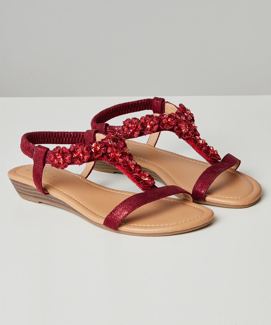 Turning Heads Shimmer Sandals Model Front