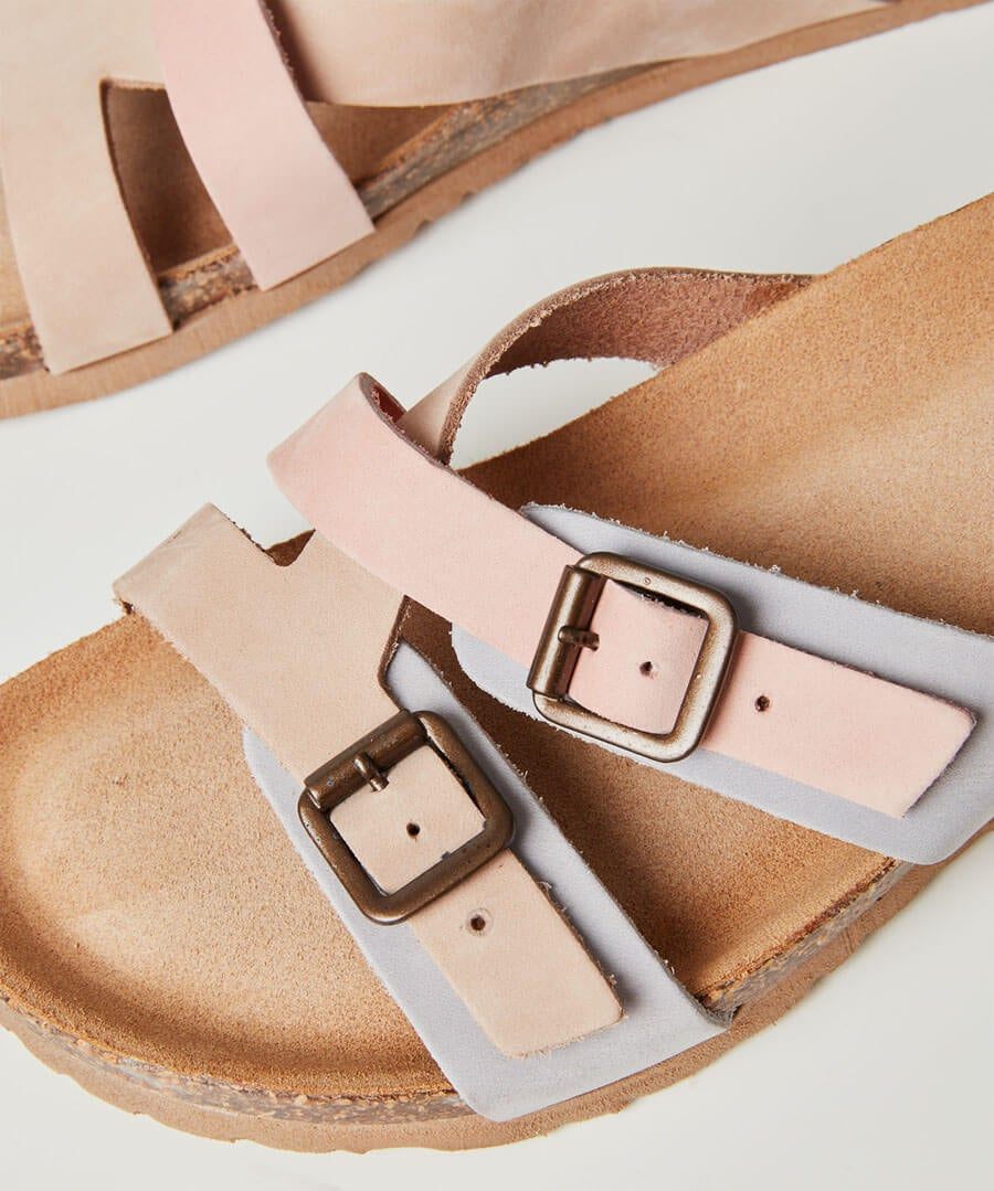 Ti Adoro Nubuck Leather Sandals Model Back